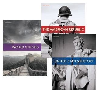 Images of 3 BJU Textbooks: World Studies, United States History and The American Republic